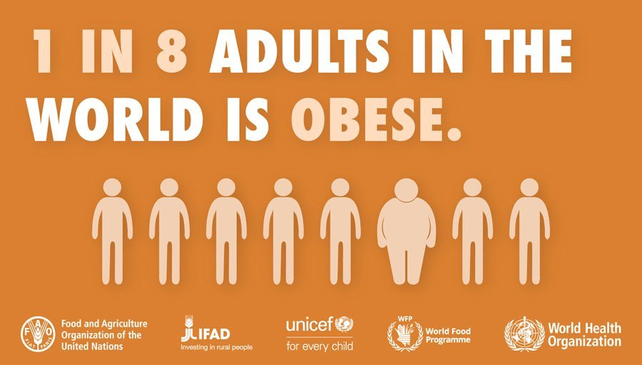 To fight #obesity, we must make the healthy choice the easy choice. Restricting the marketing of unhealthy food & drinks to children, taxing sugary drinks & banning industrial trans-fat in food are proven ways to do that. Eat healthy today & every day! #WorldObesityDay