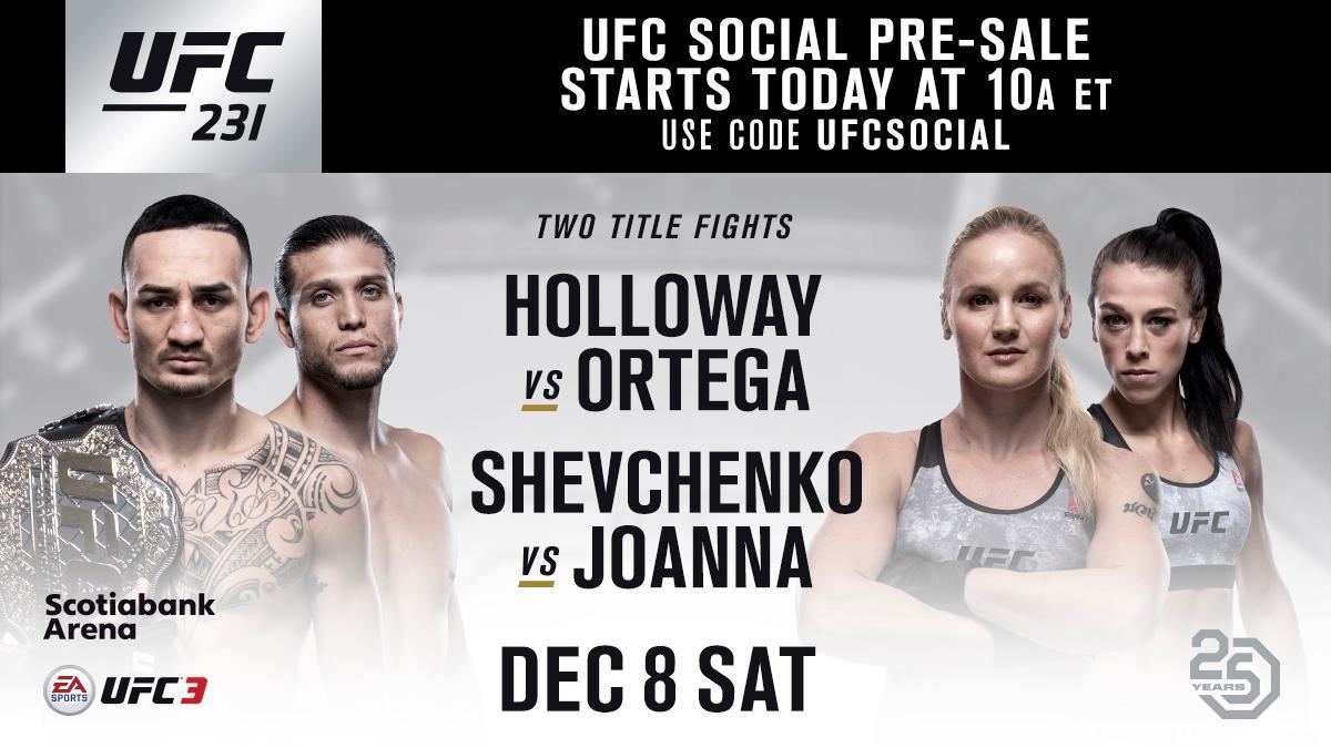 Your #UFC231 social pre-sale is LIVE   Use code: UFCSOCIAL  ➡️ https://t.co/EuFN2ggZUa ⬅️ https://t.co/ax9f1oBs0X