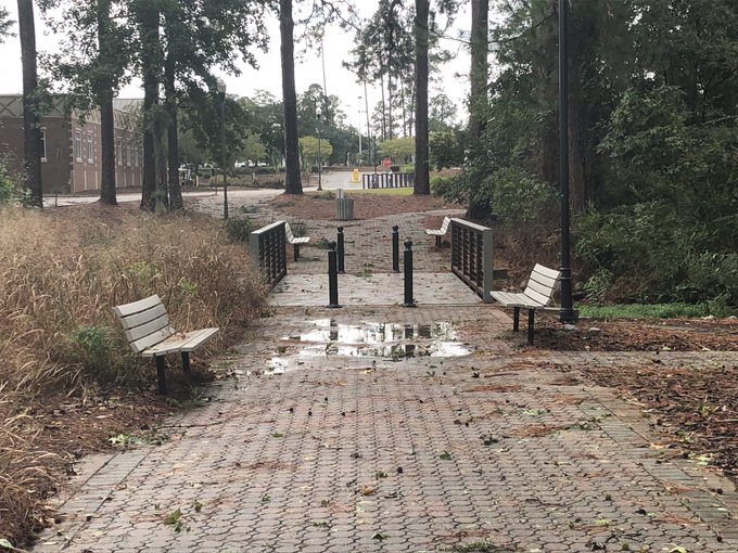 After a walk up and down the pedestrium, it appears that #TropicalStormMichael has not caused any significant damage to this area of campus. The only thing to show for the storm is a couple of puddles along with plenty of leaves and pine straw. Photo