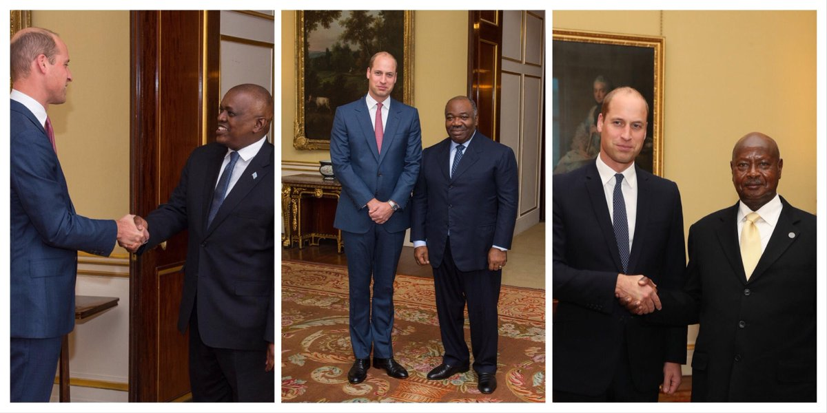 Working together to #EndWildlifeCrime   As part of this week&#39;s Illegal Wildlife Trade Conference, The Duke of Cambridge held bilateral meetings with President @OfficialMasisi of Botswana, @PresidentABO of Gabon, and President @KagutaMuseveni of Uganda.<br>http://pic.twitter.com/EcnvQm1TRd