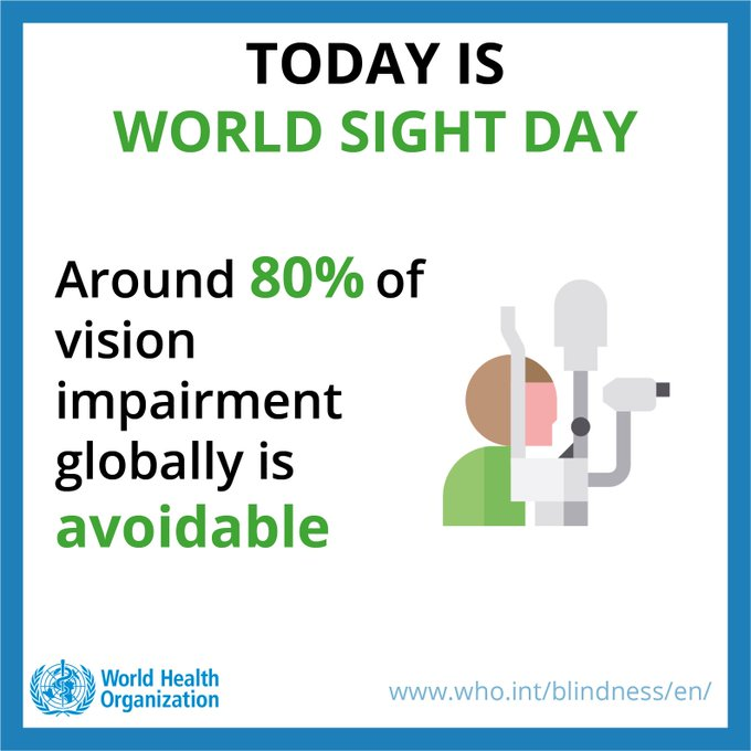 Today is #WorldSightDay Over 80% of all vision impairment can be prevented or cured. When was the last time you had your 👁️ checked? Photo