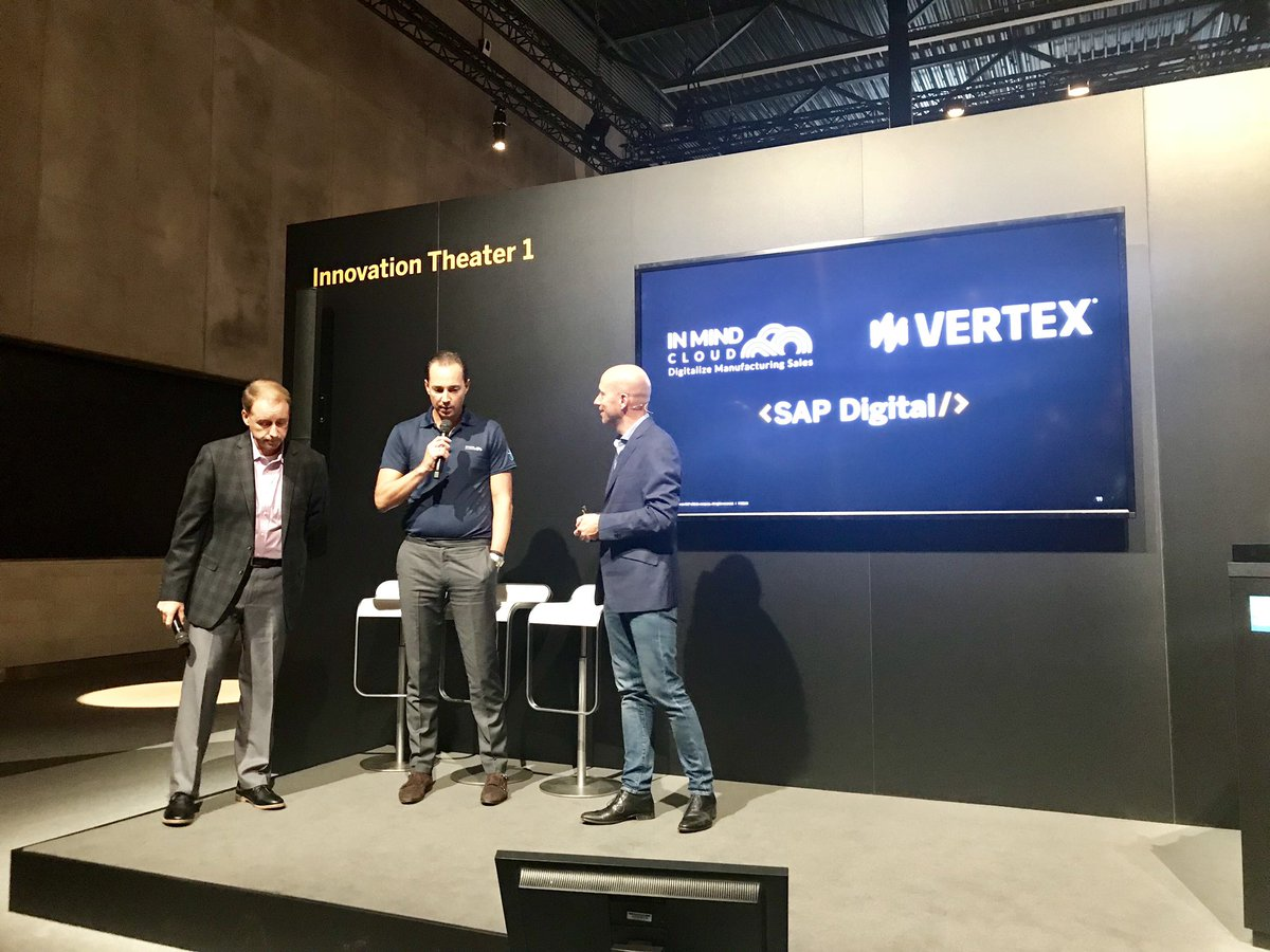 Such a pleasure to present together with our fantastic partners @ccuske from @InMindCloud and @BWilchusky from @vertexinc at #SAPCXlive the @SAPDigital story and how we drive customer experience with @SAP_CX solutions. Thank you all!<br>http://pic.twitter.com/ZD1obKjBzn &ndash; à Fira Barcelona Gran Via