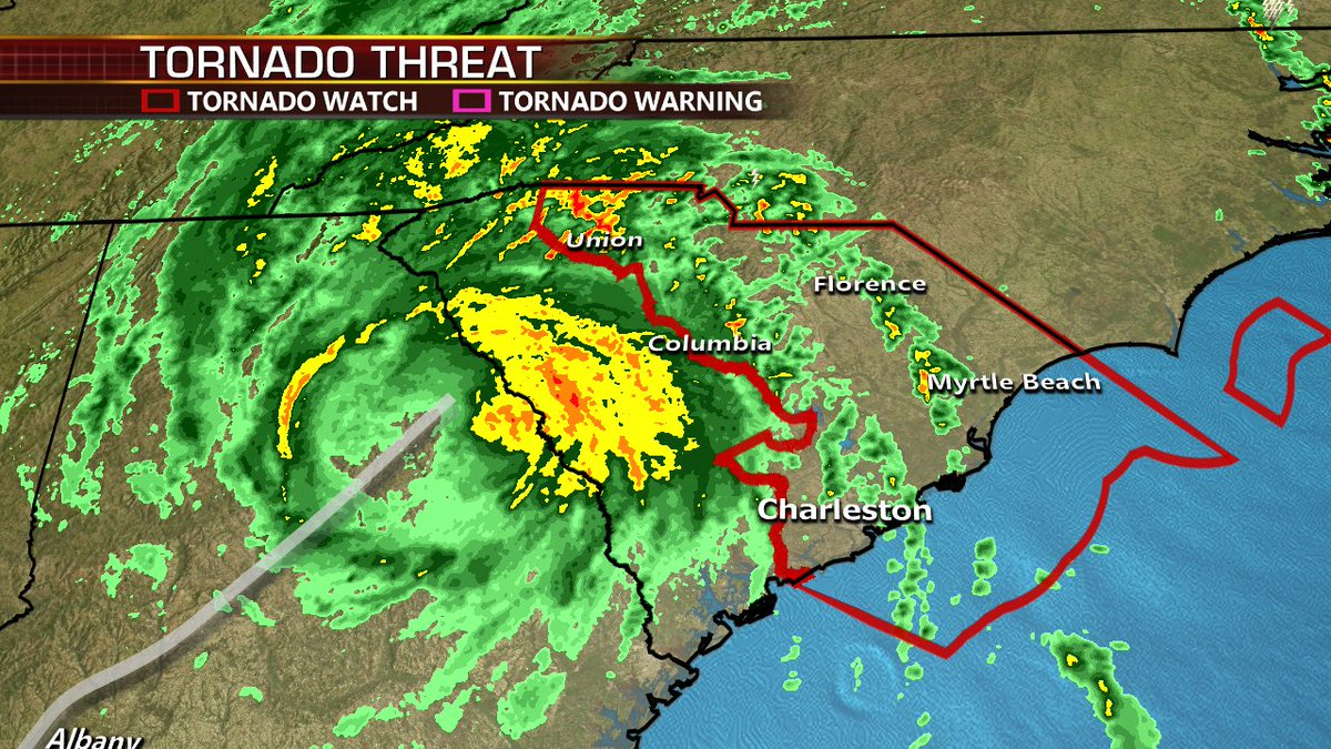 #HurricaneMichael the strongest storm since #Andrew and 3rd lowest pressure since #Camille Tornadoes and flooding will be a threat across the Carolinas and East Coast.  Details coming up on @foxandfriends