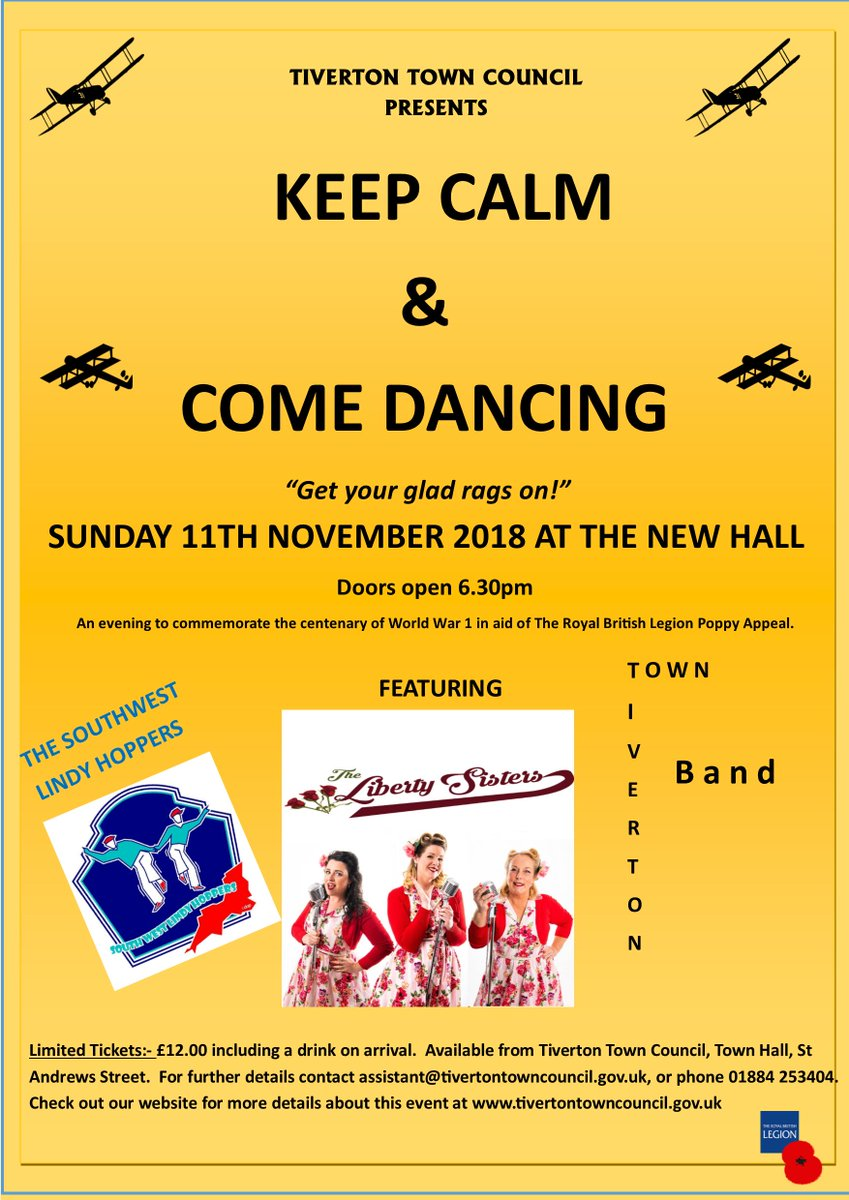 Get your glad rags on! Tiverton Town Council are pleased to be hosting Keep Calm & Come Dancing - to commemorate 100 yeats since the end of World War 1 - check out out our poster and website for more details! #tivertontown #keepcalmandcomedancing #devonlive #swingdancing #RBL