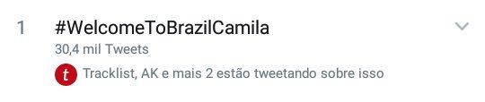 """""""#WelcomeToBrazilCamila"""" está em primeiro lugar nos Trends Brasil com mais de 30 mil tweets! Photo"""