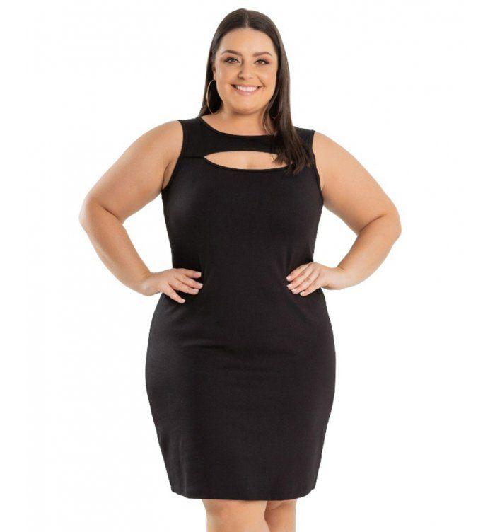 af1e4cd060 Vestido Tubinho Preto em Ponto Roma Miss Masy Plus Size. Roupas Plus Size é  na