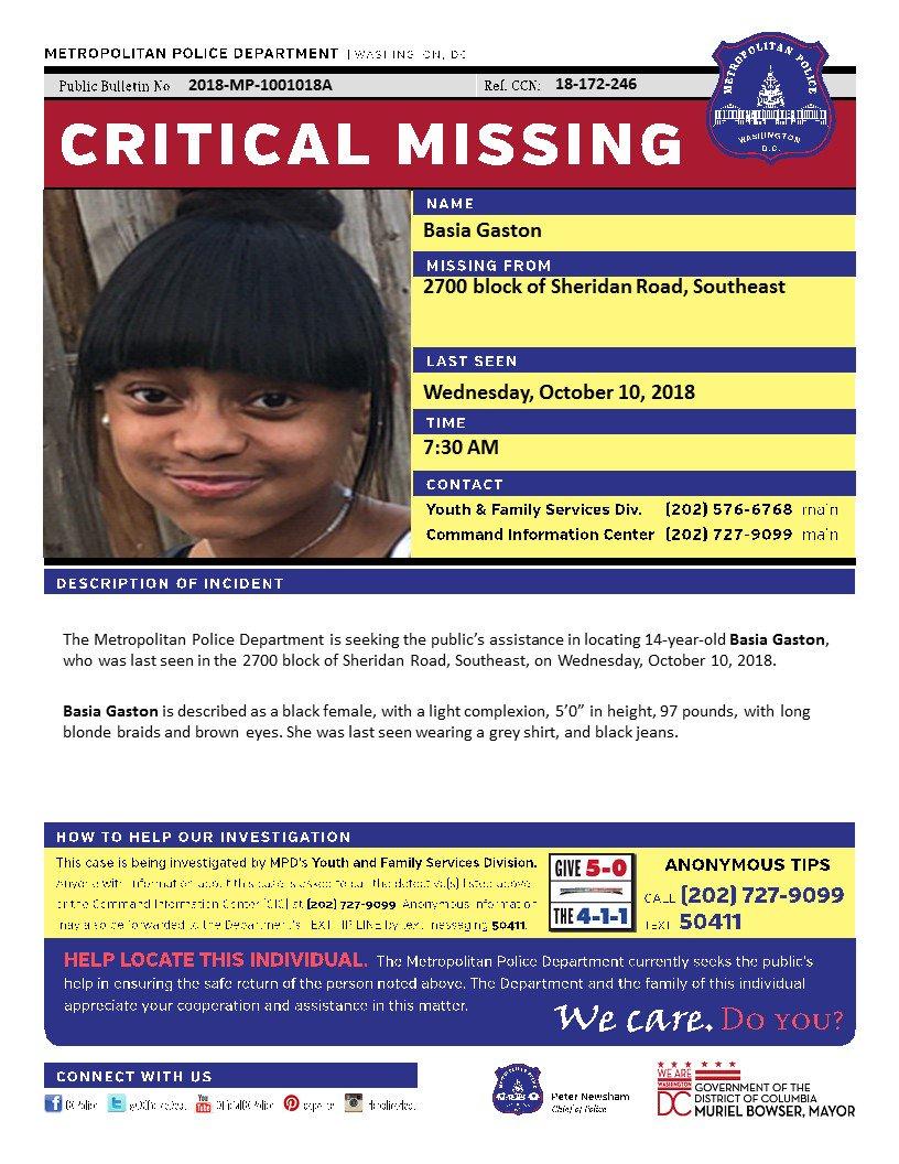 Critical MissingPerson Basia Gaston block Sheridan Road