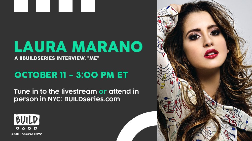At 3PM ET, we'll be live with @lauramarano on BUILDseries.com! #LauraMe