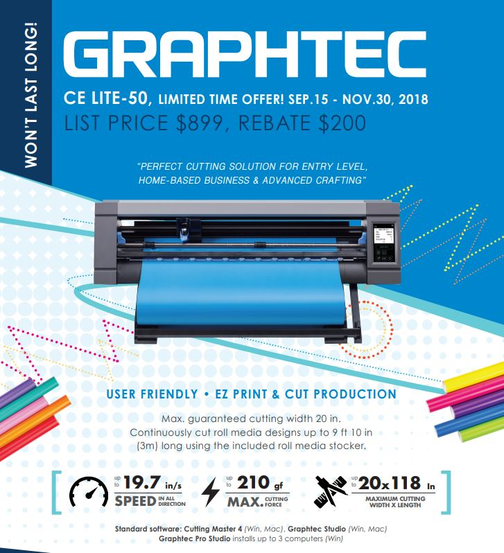 Get a $200 Rebate when buy a Graphtec CE-50-LITE at Beacon