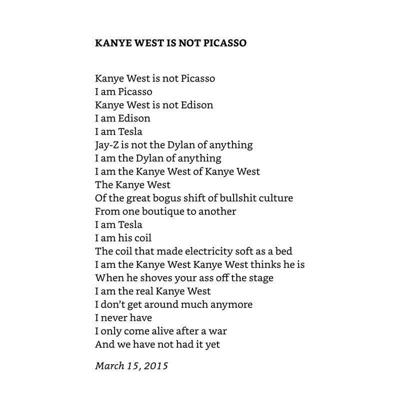 leonard cohen&#39;s kanye poem is pretty zen <br>http://pic.twitter.com/20Yx8jpj7Y