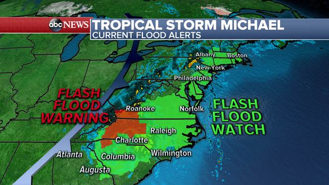 LATEST on Tropical Storm Michael:  http:// abcn.ws/2CCNzWC  &nbsp;    - Gusty winds near 50 mph - 35 miles SSE of Charlotte, NC - Moving NE at 23 mph - Flash flood watches and warnings continue from Georgia to Vermont. <br>http://pic.twitter.com/86F9iI10o6