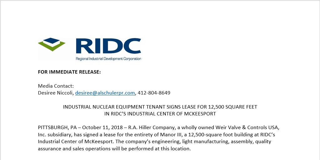 New RIDC tenant, that specializes in industrial nuclear equipment, signs lease for 12,500 square feet in #McKeesport. #CREpgh  https:// ridc.org/industrial-nuc lear-equipment-tenant-signs-lease-for-12500-square-feet-in-ridcs-industrial-center-of-mckeesport/ &nbsp; … <br>http://pic.twitter.com/UiJzm5mC6U