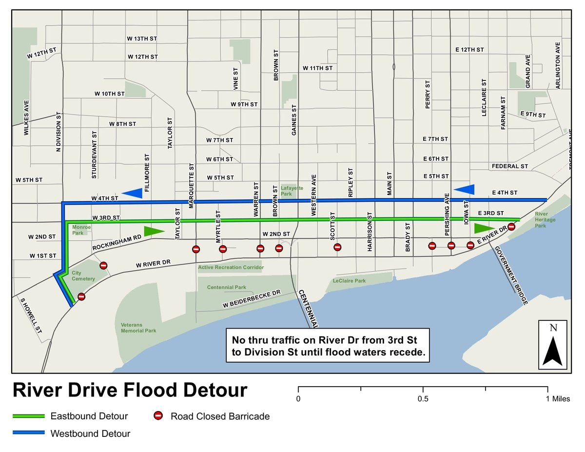 Davenport Iowa On Twitter Here Is A Map Of The River Drive Detour