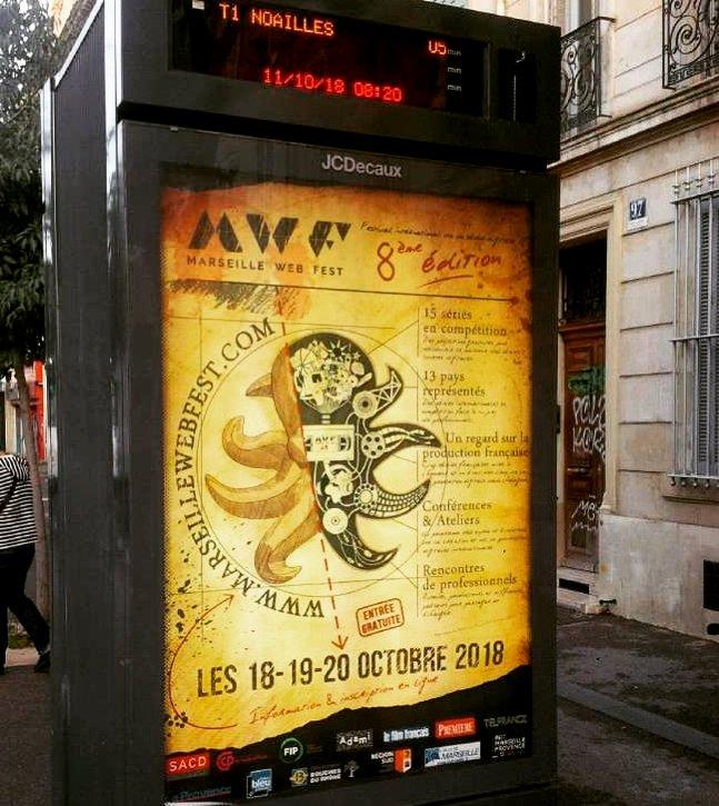 Marseille Web Fest 2018  Notre poulpe envahit les abris de tramway #marseillais. Un grand merci à notre partenaire #Aix #Marseille #Provence #Métropole  et rdv les 18-19-20 octobre 2018 -> Inscription gratuite en ligne :  http:// www.marseillewebfest.com #LePoulpeByTibo  - FestivalFocus