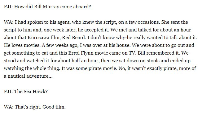 Bill Murray sounds like a genuine cinephile in this old Wes Anderson interview. <br>http://pic.twitter.com/1JltLeH5cH