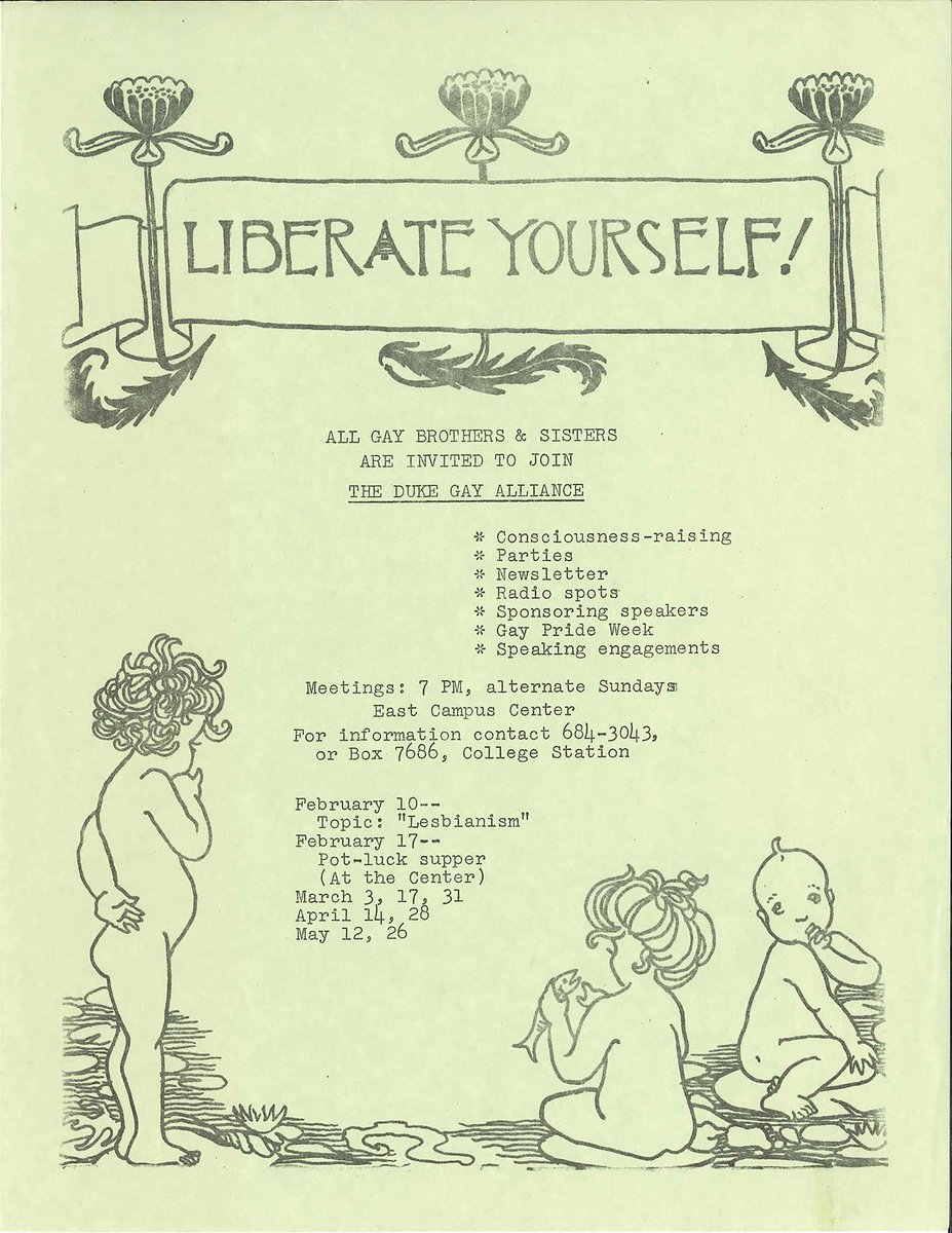 For #NationalComingOutDay, a favorite flyer (ca. 1973) from the Duke Gay Alliance, @DukeU&#39;s 1st LGBTQIA group.  Duke&#39;s own Coming Out Day celebration has moved to October 29th due to #TropicalStormMichael--we&#39;ll be there, ready to share Duke&#39;s queer history with you! @DukeCSGD<br>http://pic.twitter.com/TA08v8z0fQ