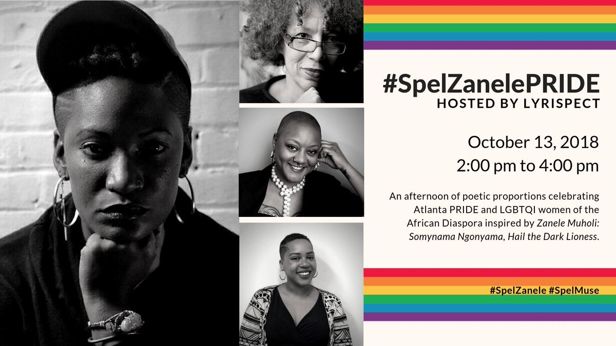 #SpelZanelePride Celebrate Atlanta Pride with Spelman College Museum of Fine Art! Lyrispect will moderate the panel of Dr. Beverly Guy Sheftall, Latishia James-Portis, & Marla Stewart - to tackle questions surrounding the sexuality, spirituality, and visibility of African LGBTQI https://t.co/ZLdBMzYox8