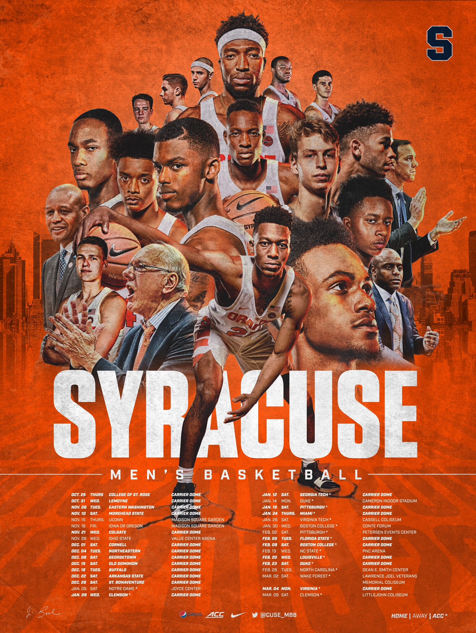Syracuse Basketball On Twitter 2018 19 Poster Get Yours At The Orange Vs White Scrimmage On Friday Night At The Dome Admission Parking Are Free Https T Co Bcqi03tfvc