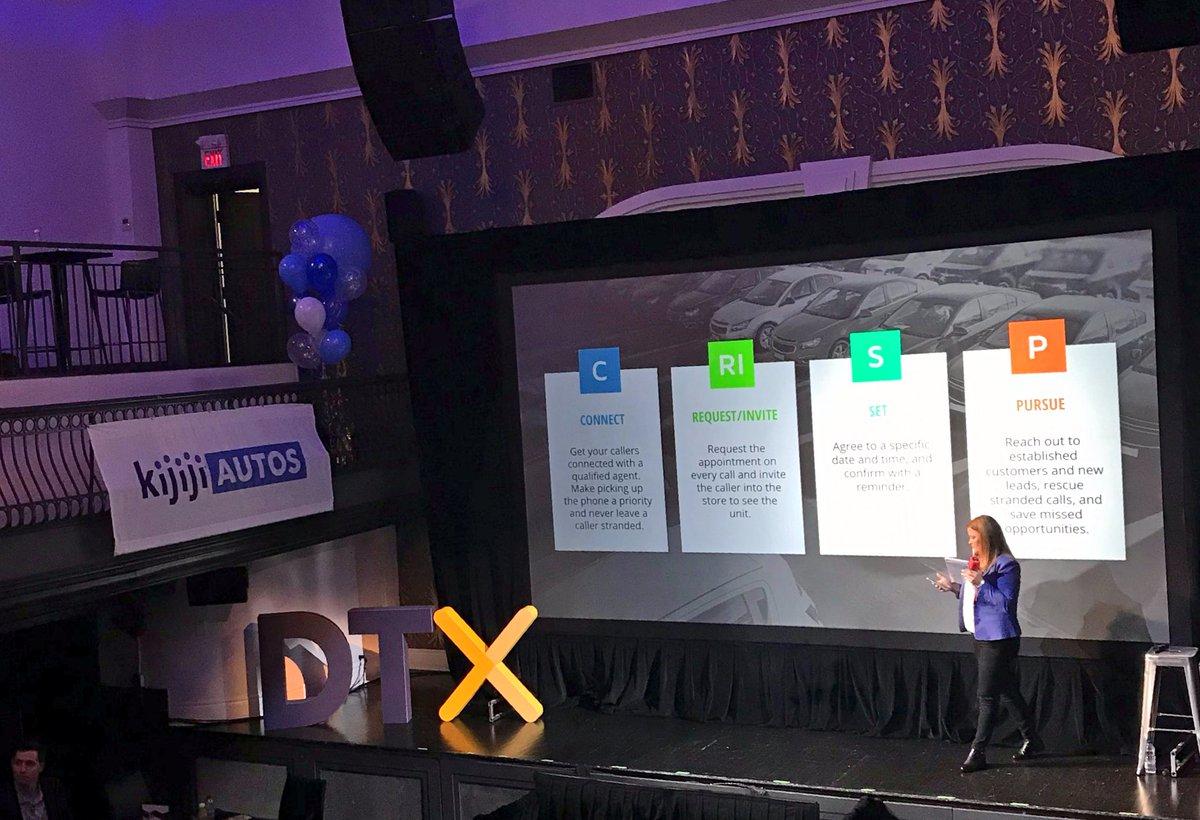 Cassie Broemmer and Mike Haeg stealing the show at #DTX2018, jumping into high gear with CRISP, literally cold calling dealerships from the audience, LIVE! 📱 https://t.co/IVofJyXKS5