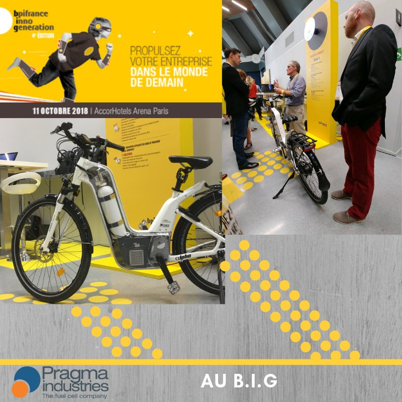 Aujourd'hui @PragmaFuelCells était au @BpifranceInno Génération avec son vélo à #hydrogène Alpha♻️🚴♀️ #InnoGeneration #H2now #ecomobilite #veloHydrogene #fuelCell #croissanceVerte #TransitionEcologique #cleantech #entreprise #Innovations
