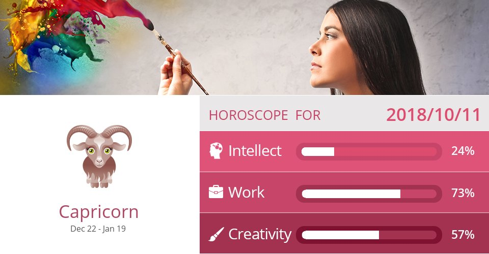 Oct 11, 2018: Work & Creativity => See more: https://t.co/CiJVVVS19y Accurate? Like = Yes #Capricorn #Horoscope https://t.co/WBW6Rn7EHe