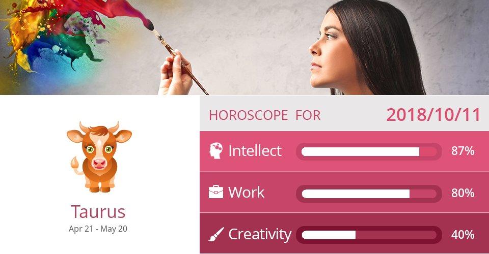 Oct 11, 2018: Work & Creativity => See more: https://t.co/6yb5uEDVa4 Accurate? Like = Yes #Taurus #Horoscope https://t.co/Nxa1ycTGl0
