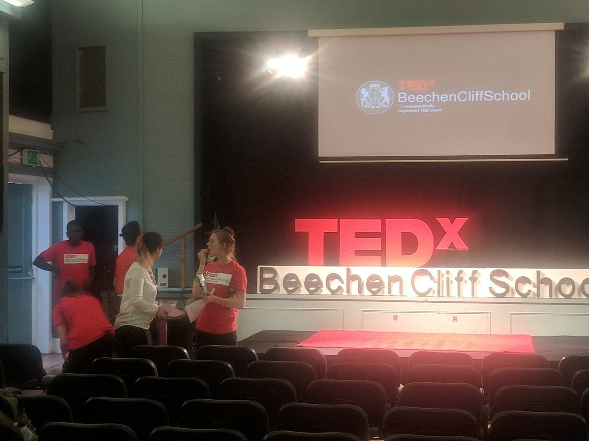 The stage is set for this year's @TEDx event on theme of Frontiers - Breaking the Boundaries taking place this evening at @BeechenCliff. The  team of @BeechenSixth students doing an incredible organising job.