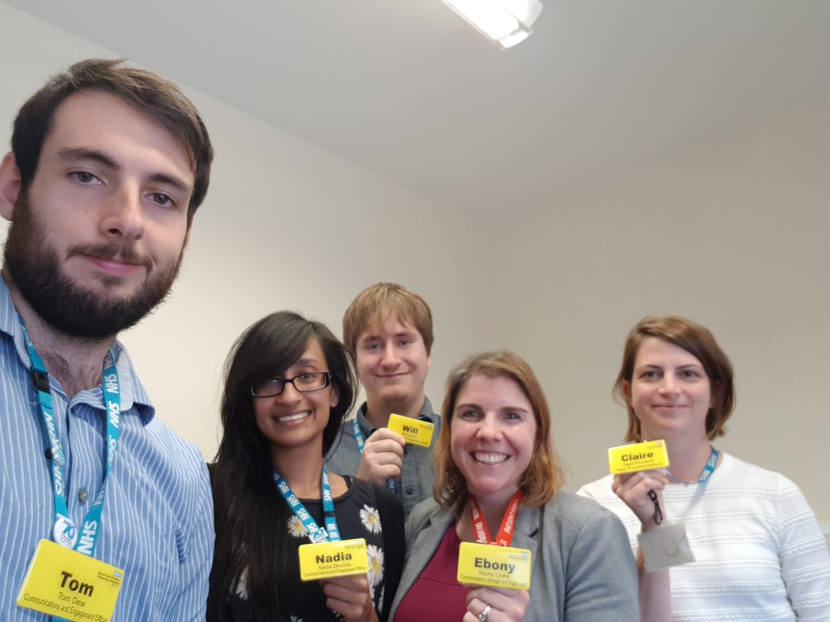 Do you like our new Trust name badges (modelled by the Comms Team)? Our new badges are bright and help staff to be identified more easily by patients, especially those with visual impairments, dementia, learning difficulties and Dyslexia. #WorldSightDay <br>http://pic.twitter.com/S2bUGQJYmU