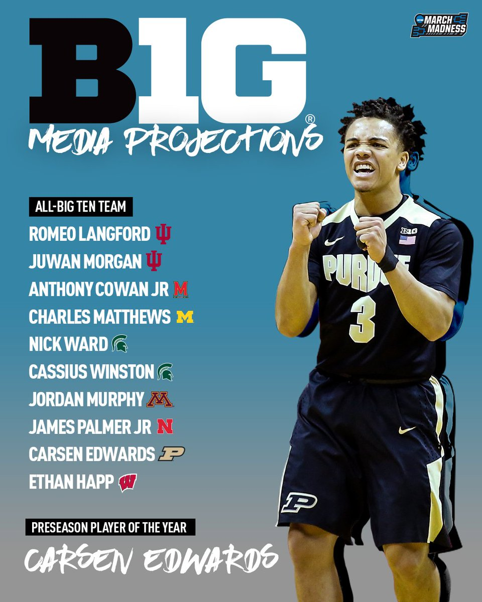 The media has spoken.  Presenting the Preseason All-Big Ten team, led by Carsen Edwards - @bigten Preseason Player of the Year! #B1GMediaDay <br>http://pic.twitter.com/4CVdJHhzEn