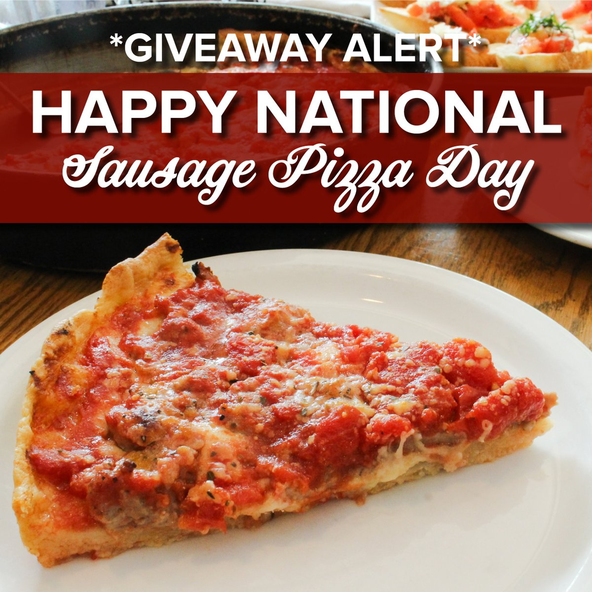 It&#39;s #NationalSausagePizzaDay and we're celebrating the king of all Chicago deep dish pizzas, the Malnati Chicago Classic, and giving away a $25 gift card! To enter, follow us and tweet a photo using #MalnatiChicagoClassic by 11:59pm central time today.<br>http://pic.twitter.com/piLTHtjgsi