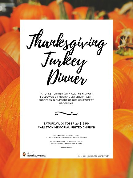 Just over a week away from our Annual Turkey Dinner! Tasty treats, music, and more on Saturday, October 20 at 6 pm. https://t.co/kVyx7h4TcQ