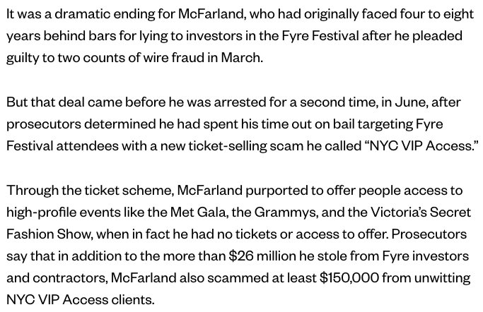 Holy shit! I totally missed that Fyre Festival scammer Billy McFarland, who has just been sentenced to 6 years in prison, ripped off some of the same people AGAIN with another scam AFTER pleading guilty in March!  http:// bit.ly/2CB83is  &nbsp;   <br>http://pic.twitter.com/ONqz8xbKE8
