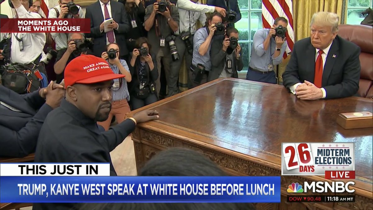 Kanye West is rambling and cursing about the Unabomber, sleep deprivation and the four gentlemen who wrote the 13th Amendment while sitting in the Oval Office with Donald Trump. America is so screwed. <br>http://pic.twitter.com/xfEs16nBwJ