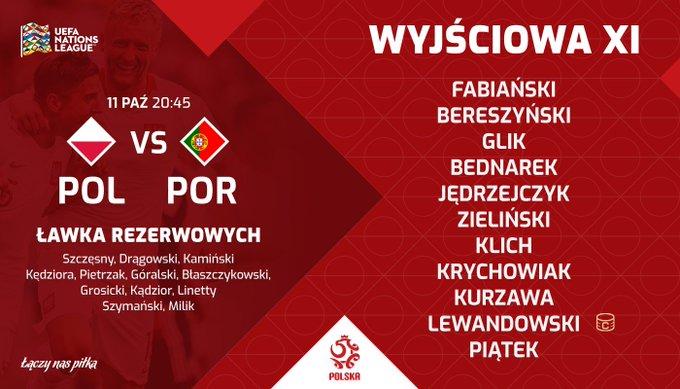 🔴 Oto 1⃣1⃣ reprezentacji Polski na mecz z @selecaoportugal w #NationsLeague! 🔥 Powodzenia! 👊 ___________________ Mecz za 80 minut Foto