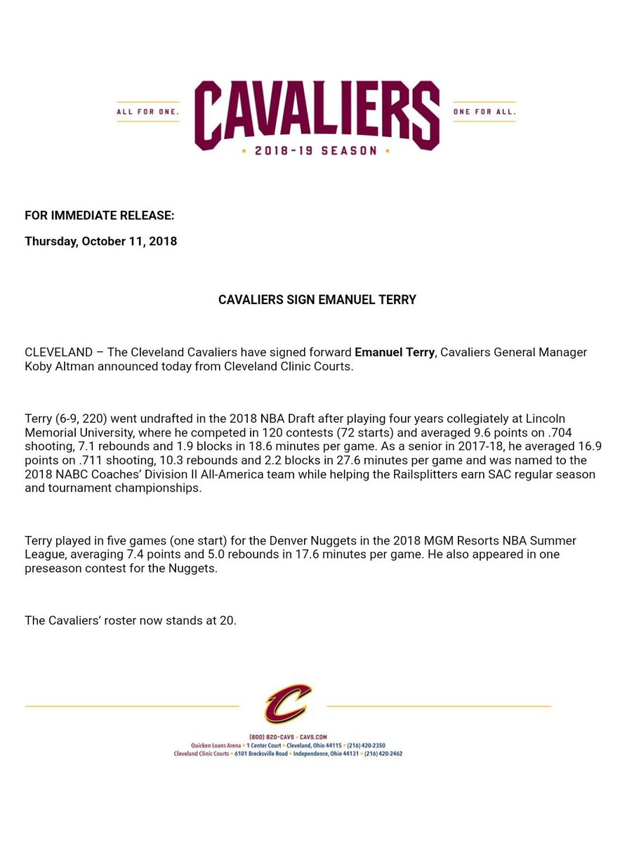 After waiving Levi Randolph, the #Cavs have brought in Emanuel Terry as their 20th man. <br>http://pic.twitter.com/CvnQvYXy3L