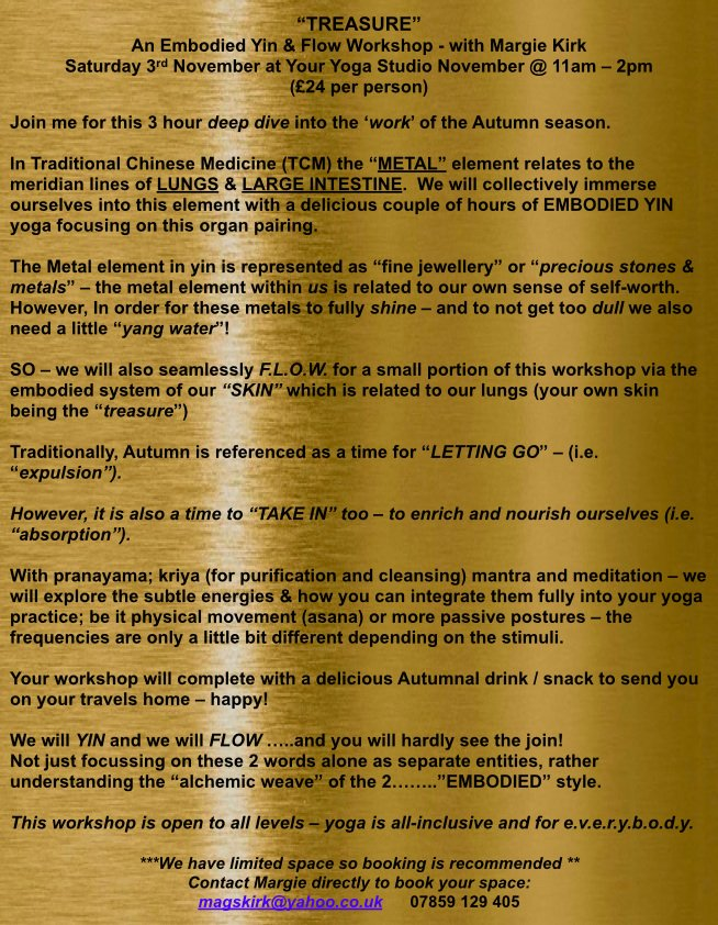 """our amazing Margie is hosting """"Treasure"""" an Embodied Flow workshop @youryogastudios on Saturday, November 3rd from 11-2pm. Please read on and sign up to reserve your spot, this looks to be an amazing experience #youryogastudio #embodiedflow #workshop #tcm #yoga #liverpoolpic.twitter.com/ROCKDWYCSq"""