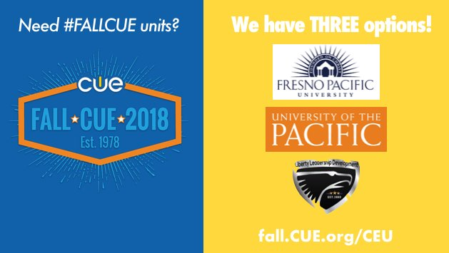Need affordable and useful CEU/college credits at #FallCUE? We've got you covered! Fall.CUE.org/CEU #WeAreCUE