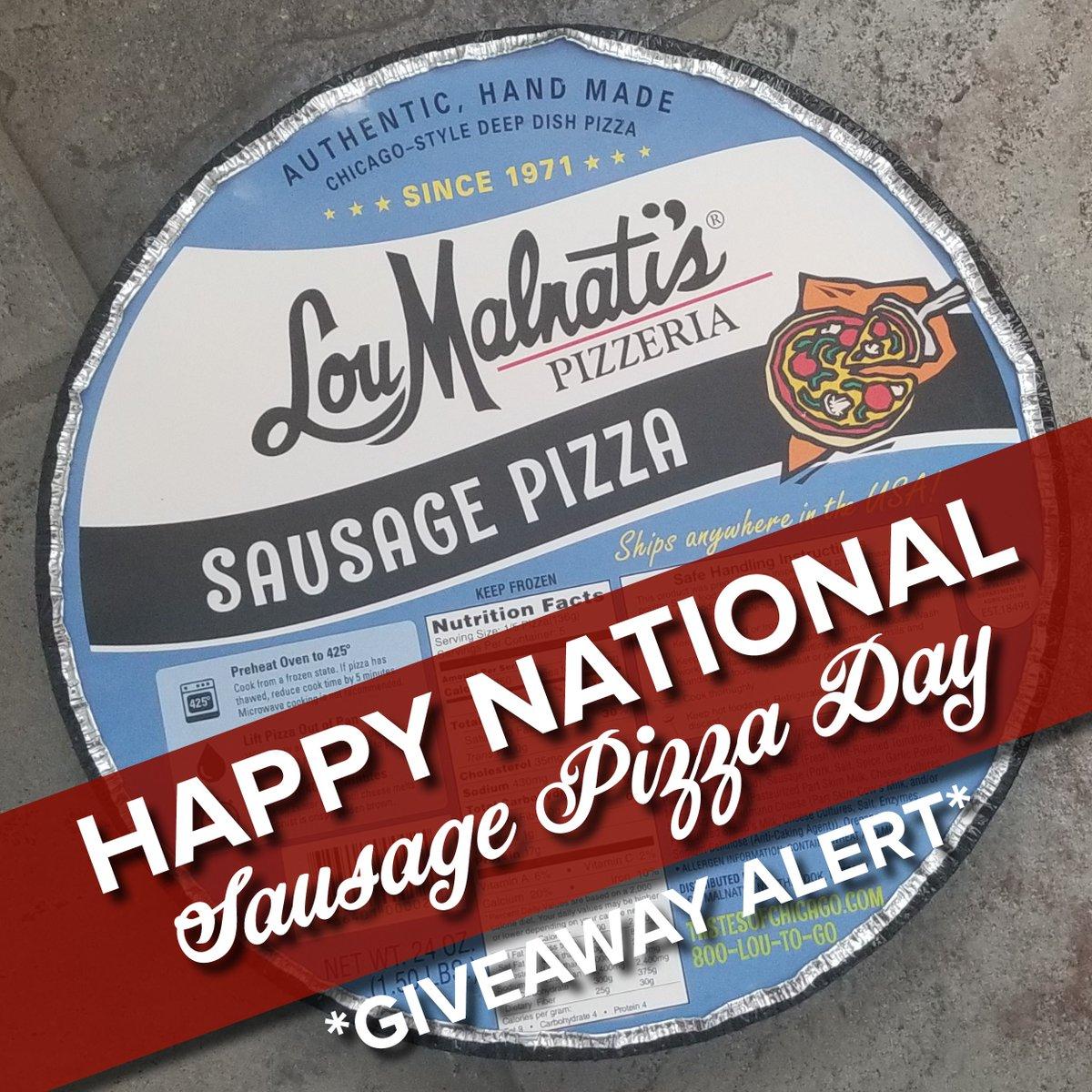 We&#39;re celebrating #NationalSausagePizzaDay by giving away a $25 gift card. To enter, follow us and reply to this tweet by 11:59pm central time today. One winner will be randomly chosen tomorrow from entries on FB, TW, and IG, so enter on all three for a better chance to win. <br>http://pic.twitter.com/47elUuBzDl