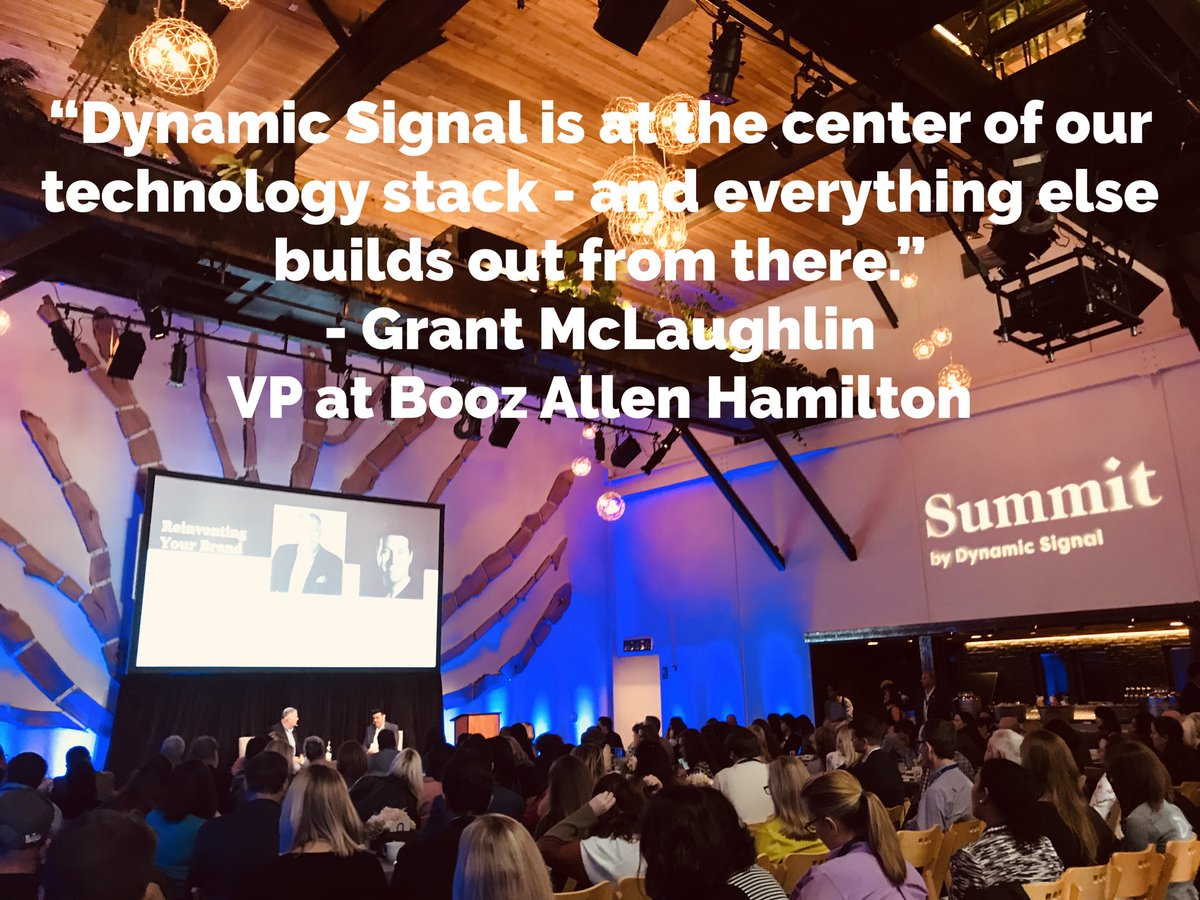"""""""Dynamic Signal is at the center of our technology stack -- and everything else builds out from there."""" - Grant McLaughlin @Grantrmc - VP at Booz Allen Hamilton @Dynamic_Signal #dysisummit <br>http://pic.twitter.com/9YgXr6irrk &ndash; à The Pearl"""