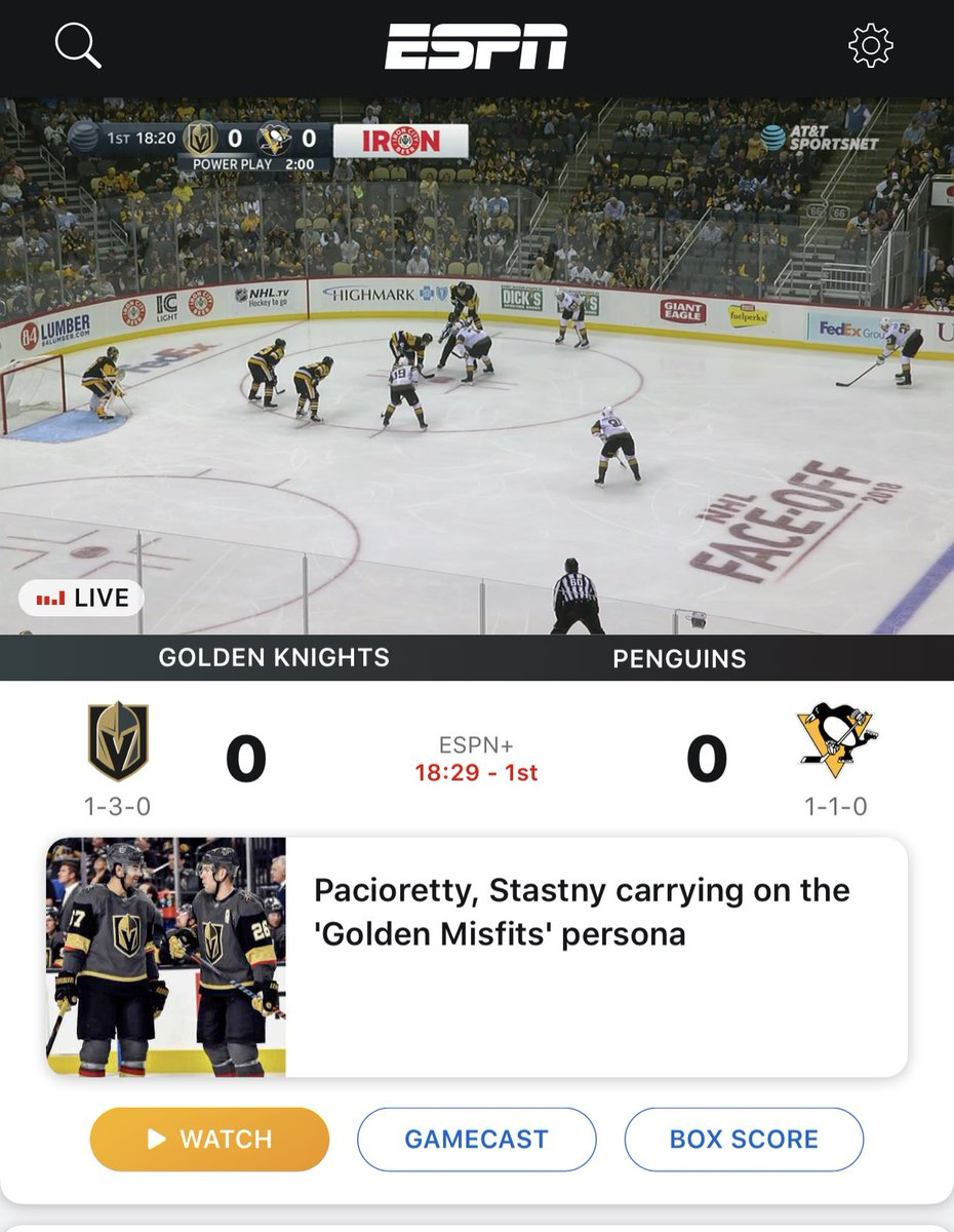 The @penguins are on ESPN+ again tonight.   If you're subscribed as a fan of the Pens - the game starts as soon as you open the ESPN app.