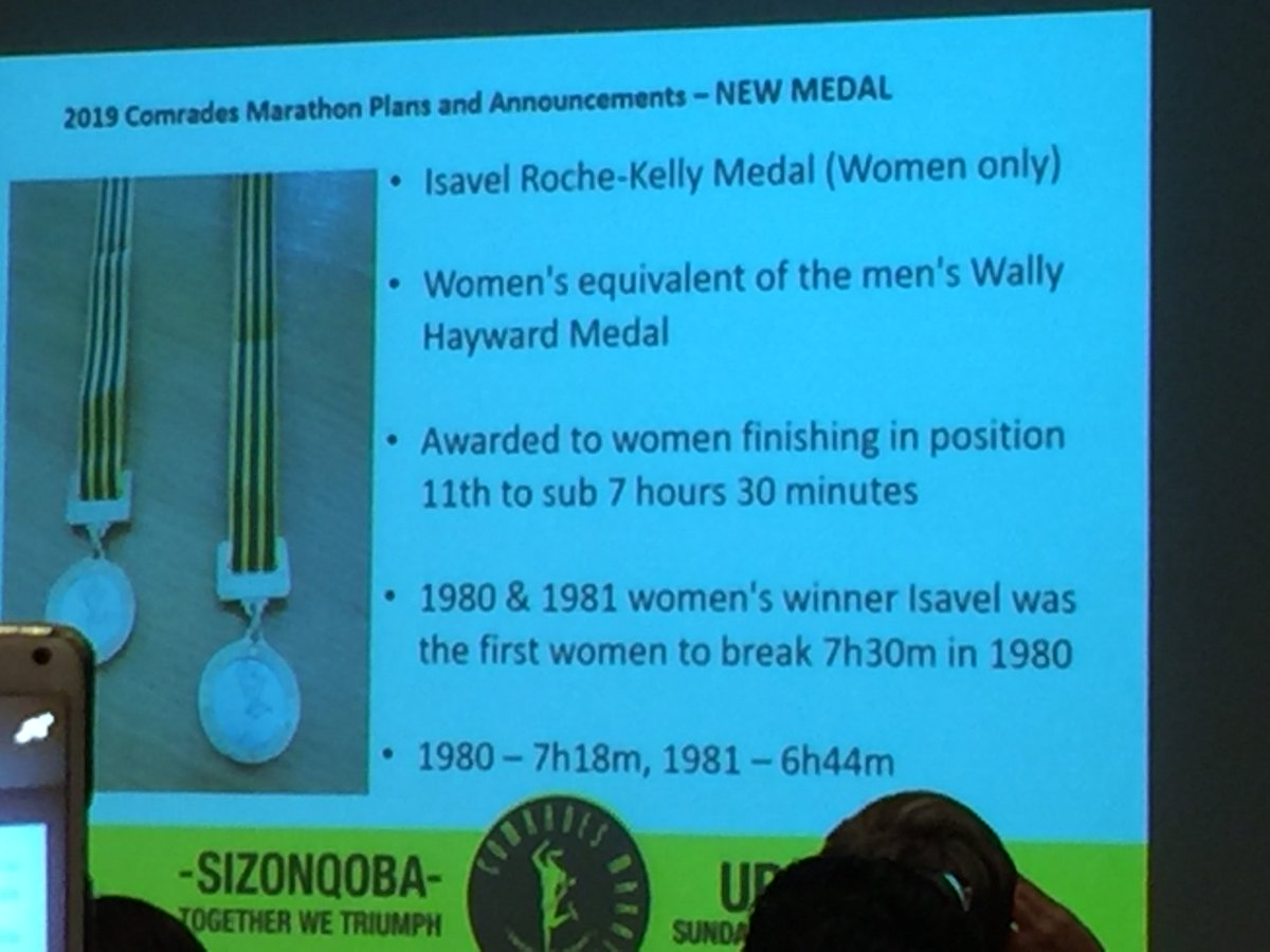 Another great new medal - first to honour a female athlete. #Isavel Roche-Kelly (first woman to break 7h30 & 7hrs). Replaces silver for women. Personally think it should have been for sub7 women but great for the women's race. @ComradesRace