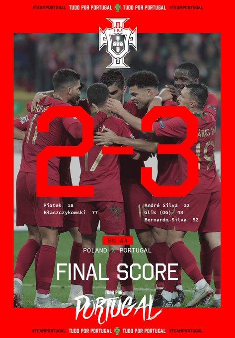Grande jogo da equipa ✅ 2.ª vitória na #NationsLeague ✅ Liderança isolada do grupo ✅ #TudoPorPortugal Photo