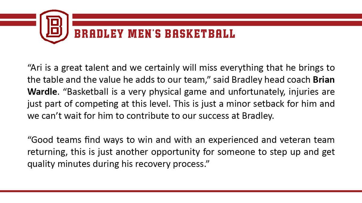 Bradley Basketball On Twitter Update Ari Boya Out 10 12 Weeks