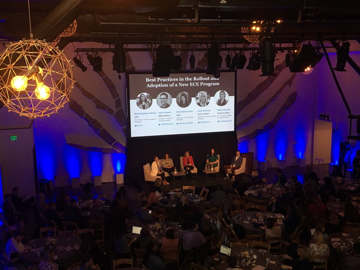 Amazing panel on rollout and adoption of their @Dynamic_Signal platforms! Love partnering with @UPS and @BNSFRailway to achieve their ECE goals. #DySiSummit <br>http://pic.twitter.com/HQiPtTxIMY