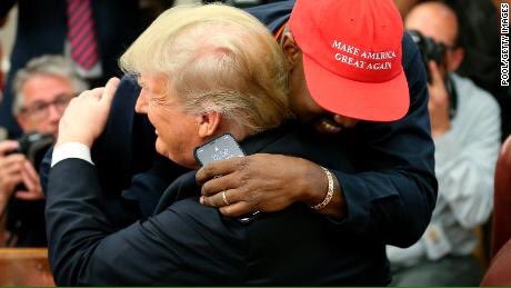 Abami Eda 🇳🇬 on Twitter: #Photo of the year #Canon @Gidi_Traffic  #Hugs 🤗  #KanyeWest meets with Trump at the White House, telling him that wearing his Make America Great Again hat makes him feel like #Superman. That is what we call #MAGA…