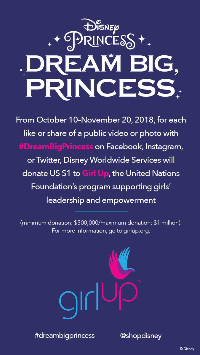 For every social post tagging #DreamBigPrincess, Disney will donate $1 to Girl Up - up to $1 million! Let's do this for such a great cause! @shopDisney https://t.co/KAx98H4g2G