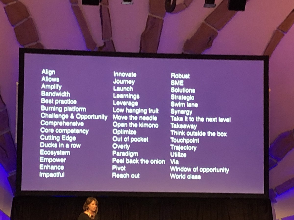 How are you being authentic in your words? A list of banned words on the @jpmorgan comms team because they are marketing speak. #DYSISUMMIT <br>http://pic.twitter.com/NlmIApPp7k