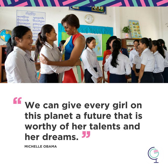 Today on International #DayoftheGirl, I'm proud to join @MichelleObama and the Global @GirlsAlliance to stand up for adolescent girls' education—because the future of our world is only as bright as our girls. These leaders need our help. Photo