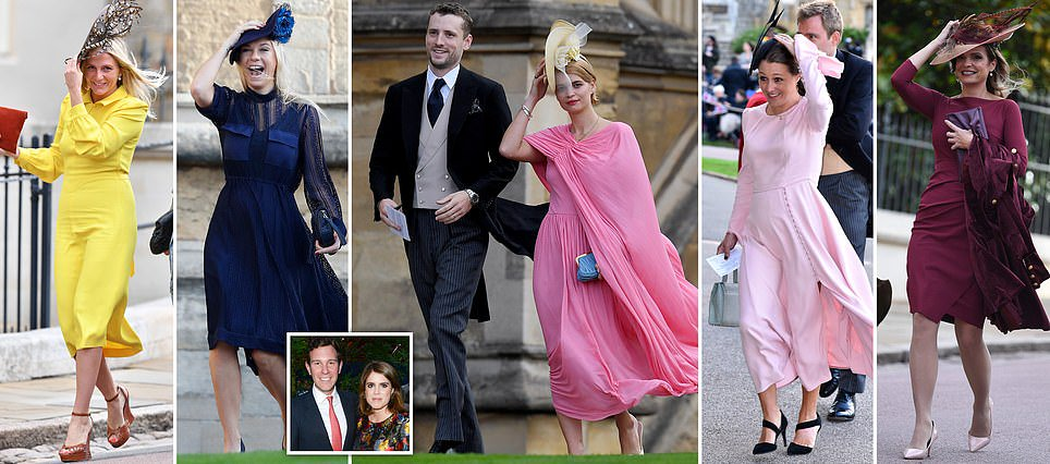 Celebrity guests battle blustery conditions as they arrive at Windsor Castle for Princess Eugenie's wedding https://t.co/BVUMhnUhEl