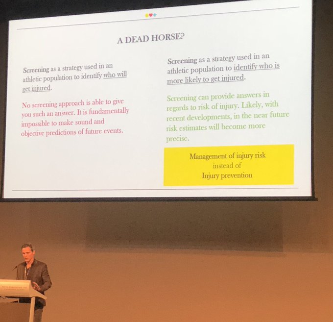 Is injury screening a dead 🐴? 🔑 No screening approach is able to tell you who WILL get injured. 🔑 But it can identify who is more likely to get injured. 🔑 Management of injury risk instead of injury prevention @EvertVerhagen @SMA_Events #SMAconf18 Photo